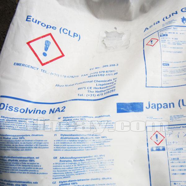 Xuất xứ Hóa chất Akzo Nobel EDTA Na2 in trên bao bì